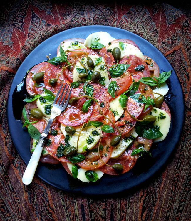 Tomato, Mozzarella & Chorizo Salad with Caperberries