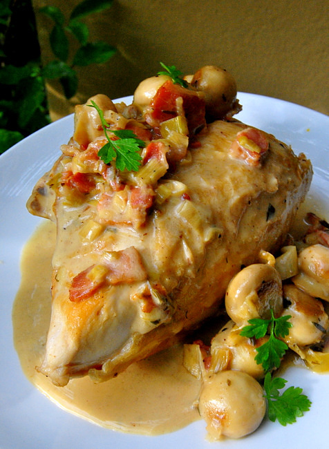 Chicken with Cider Bacon and Mushrooms