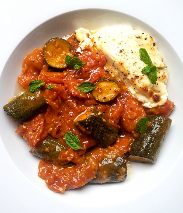 Slow-Cooked Courgettes & Cherry Tomatoes with Melty Feta Wheels