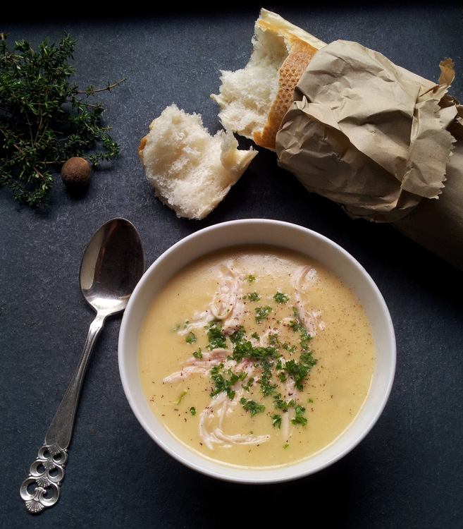 My Epic Chicken Soup with Nutmeg, Thyme & Cream