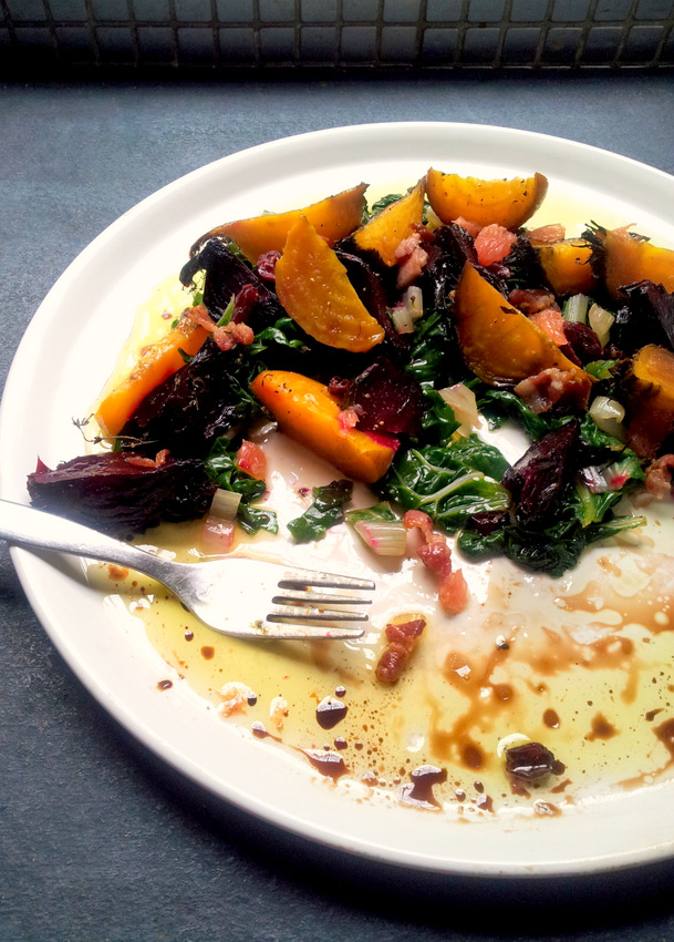 Roasted Golden Beetroot with Spinach & Bacon