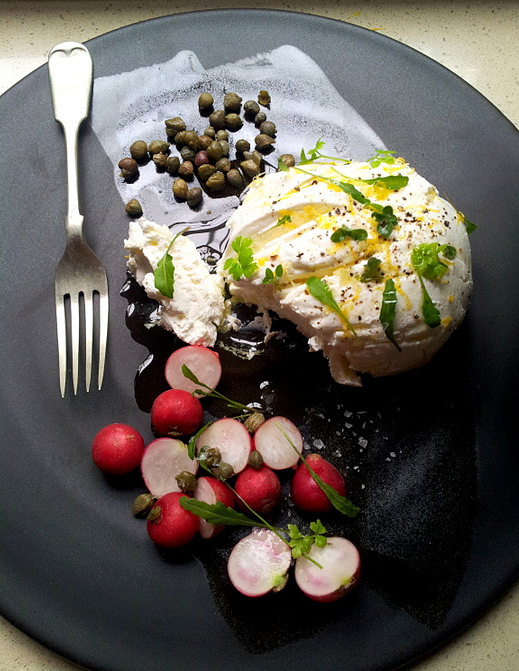 Easy Maas (Amasi) Drained Cheese with Capers, Radishes & Herbs