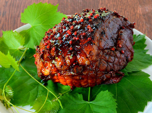 Christmas Gammon with a Pomegranate and Pink Peppercorn Glaze