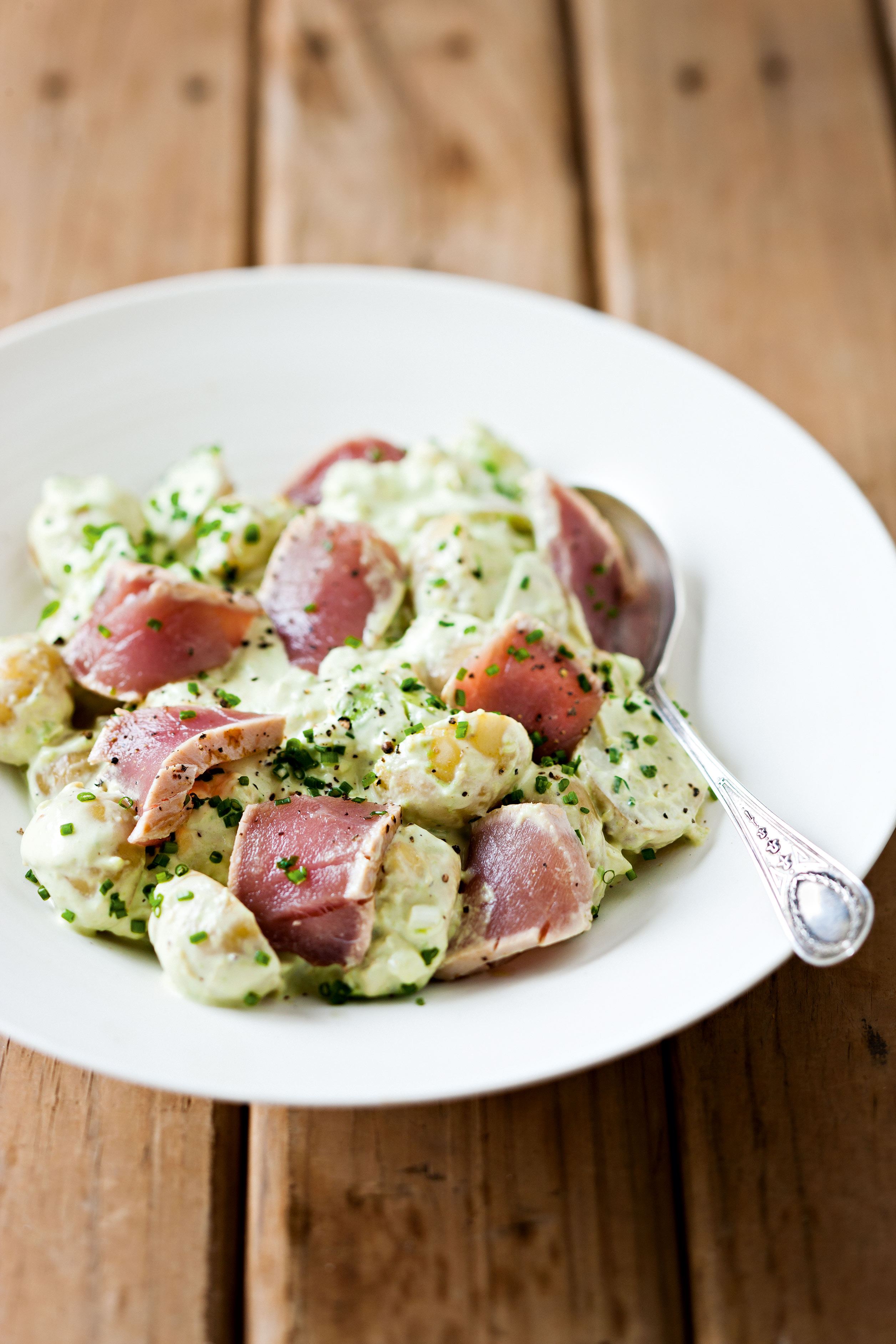 New-Potato Salad with Avocado, Wasabi and Seared Tuna