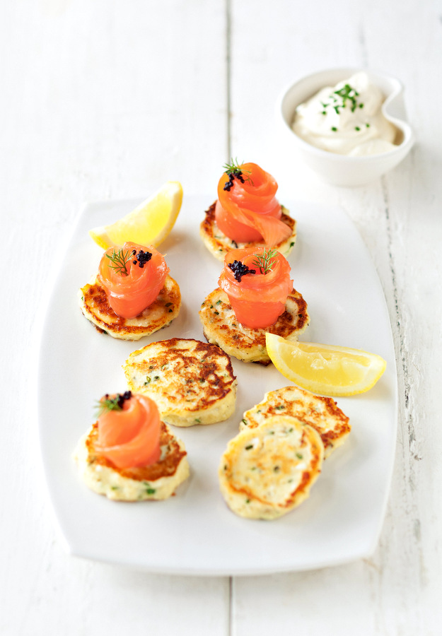 Ricotta and Chive Hotcakes with Smoked Salmon Roses