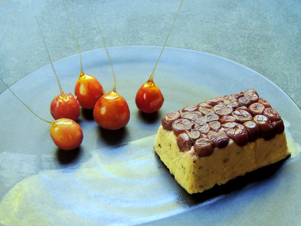 Pressed Cheese with Roasted Grapes and Caramel-Dipped Fresh Grapes.