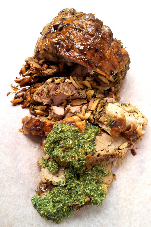 Roast Deboned Leg of Lamb En Ballon with a Herby Garlic Stuffing