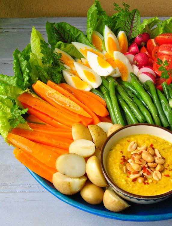 Gado-Gado: a hot & cold salad with a spicy peanut sauce