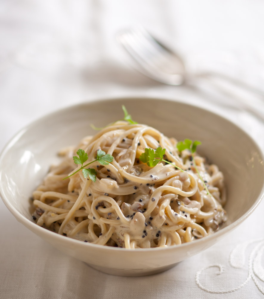 Spaghettini with a Double-Creamy Onion, Lemon and 'Caviar' Sauce
