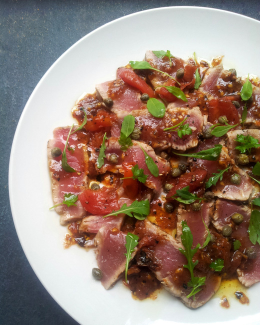 Seared Tuna with a Burnt Tomato &amp; Caper Dressing