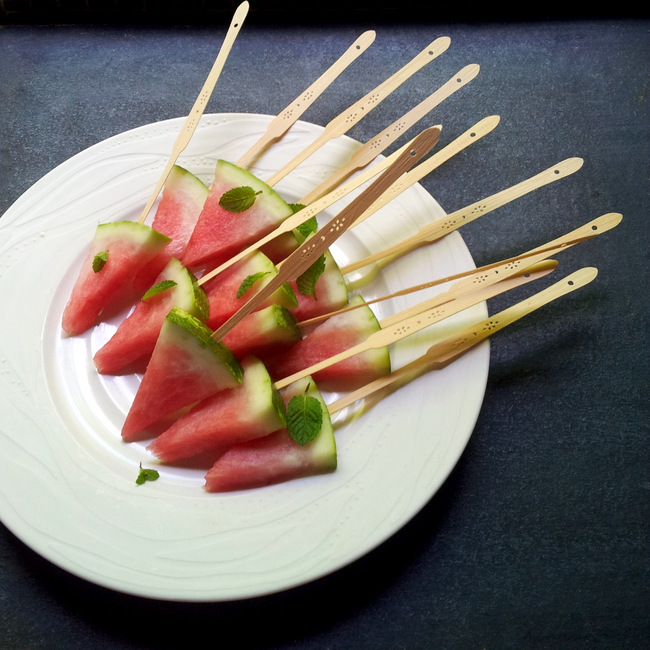 Watermelon Bites with Lemon-Balm Sugar
