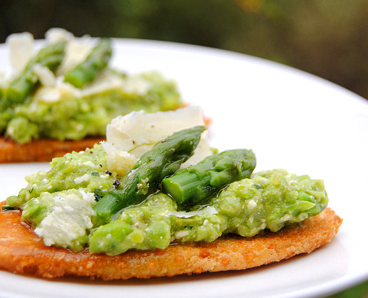 Fresh Asparagus, Peas and Parmesan on Hot Toast