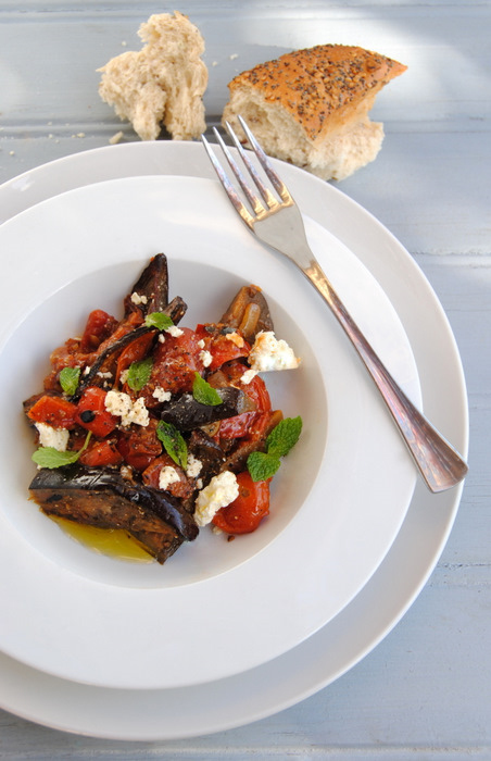 Baked Aubergines with Tomato, Scorched Red Pepper, Feta and Mint