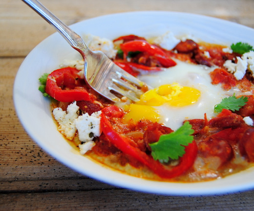 Breakfast Eggs Baked with Tomato, Red Pepper and Smoked Sausage