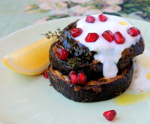 Spiced Baked Aubergines with Yoghurt and Pomegranate Seeds