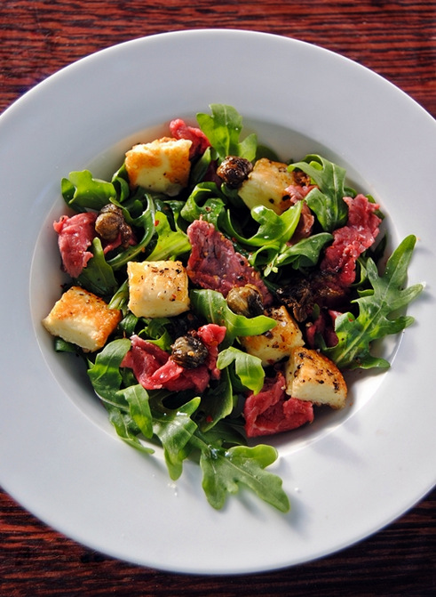 Halloumi and Beef Carpaccio Salad with Fried Capers