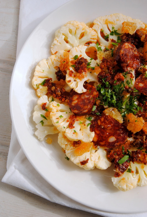 Cauliflower Salad with Fried Chourico Sausage