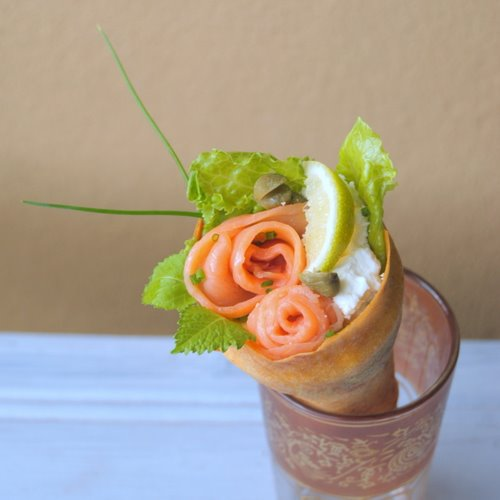Home-Made Baked Spring-Roll-Pastry Cones with Delicious Fillings