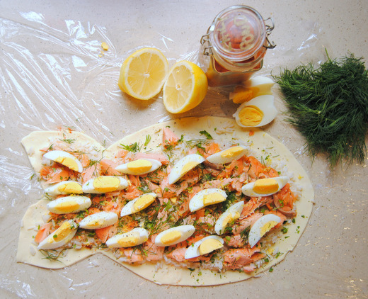 Salmon, Rice, Egg & Dill Pie with Lemon-Caper Butter