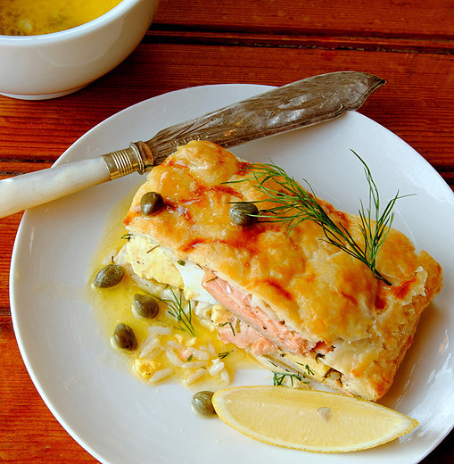 Salmon, Rice, Egg &amp; Dill Pie with Lemon-Caper Butter