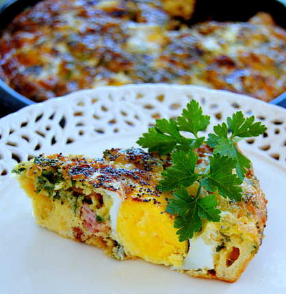 Double-Egged Crustless Cheese & Bacon Tart