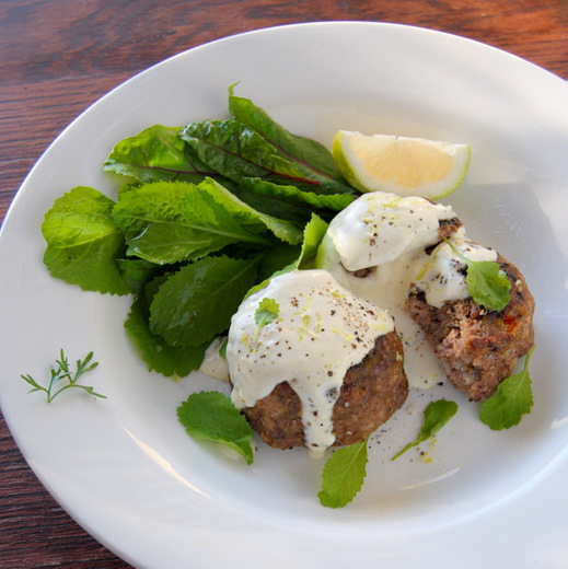 Lemon and Pepper Mini Meat Loaves with a Cool Yoghurt, Cream and Dill Sauce