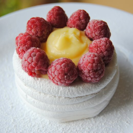 Bertie's Lemon Curd and Mascarpone Meringues, with Raspberries