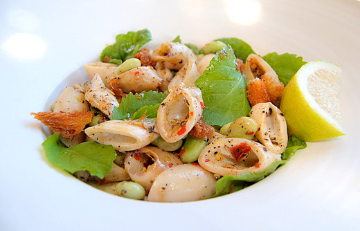 Calamari Salad with Broad Beans, Lemon and Tellicherry Pepper