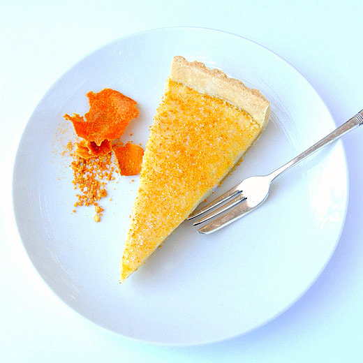 South African Milk Tart with Dried Naartjie Peel