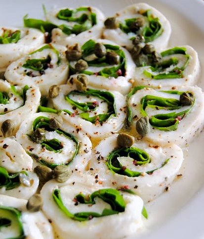 Sheet Mozzarella Rolls with Sorrel, Anchovies and Capers