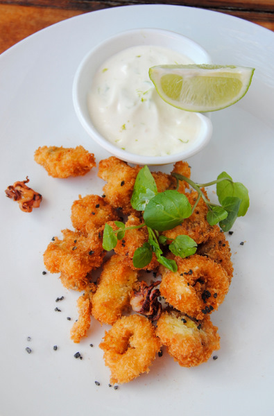 Panko-Crumbed Calamari with Black Salt & White Pepper, and Lime Mayonnaise