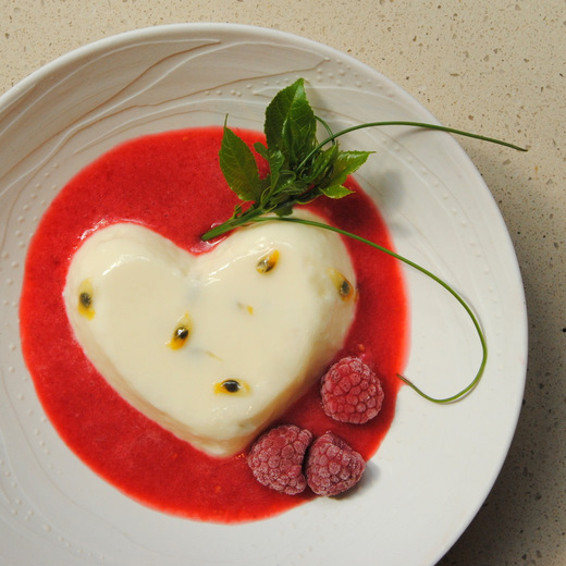 Valentine's Day: Passion Fruit Panna Cotta with Raspberry Purée