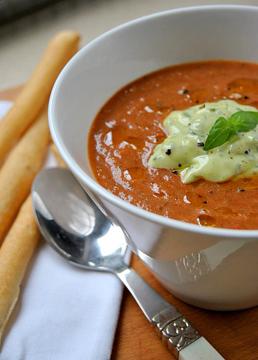 Ratatouille Soup with Basil Mayo