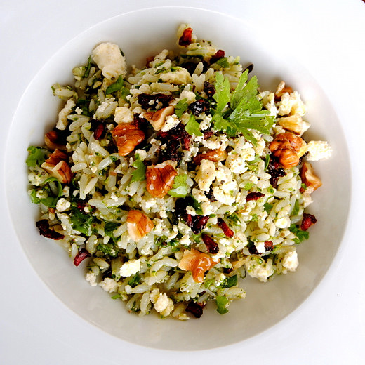 Herby Rice Salad with Feta, Walnuts and Dried Pomegranate Seeds