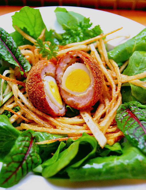 Salad of Scotch Quail's Eggs in Straw Potato Nests