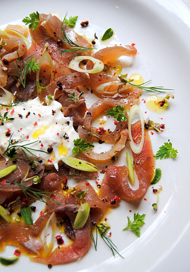Smoked Tuna with Fresh-Horseradish Cream, Pepper and Herbs