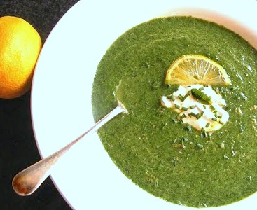 Spinach and Pea Soup with a Creamy Lemony Mint Topping
