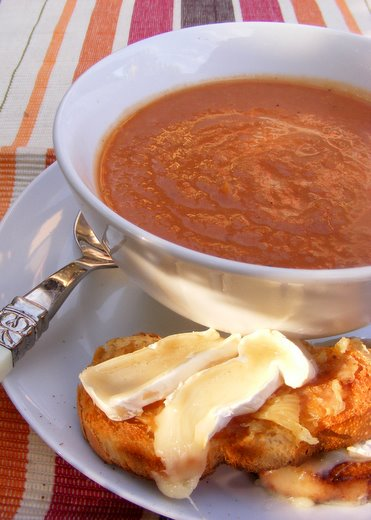 Tomato and Onion Soup with Roast-Garlic and Camembert Toasts