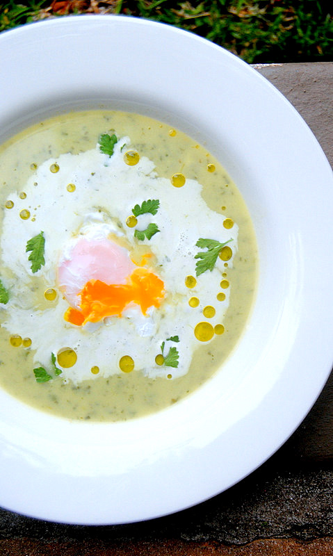 Cream of Watercress Soup with Wobbly Eggs