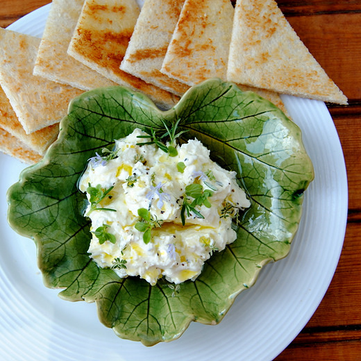 Home-made Double-Creamy Garlic, Lemon and Herb Yoghurt Cheese